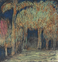 untitled (treescape with palm) by rabindranath tagore