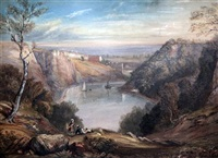 view of the avon gorge from dudham down with cook's folly, clifton beyond by samuel jackson