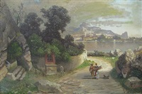 abenddämmerung am lago maggiore mit vom feld heimkehrender familie by carl gustav rodde