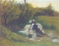 gront landskab med vaskekoner og linned by anne e. munch