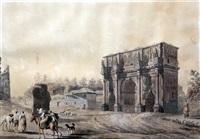 vue de l'arc de constantin à rome by abraham ducros & giovanni volpato