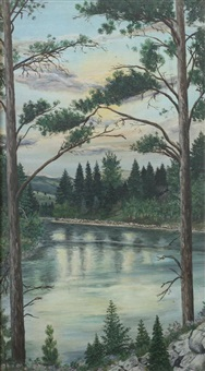 lake landscape with pines by patsy (pasquale) santo