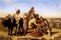 bauern helfen einem erschöpften, alten pilger by francois langlois