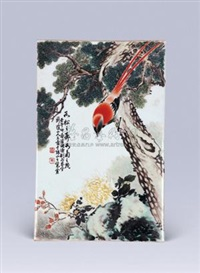 花鸟瓷板 by liu yucen