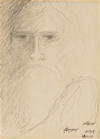untitled (self portrait); also illustrated on reverse by rabindranath tagore
