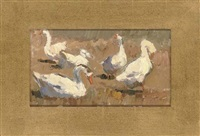 a family of geese (+ 4 others; 5 works) by leonid petrovitch baikov
