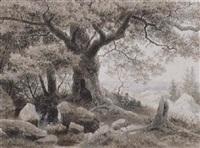 ruhender wanderer unter ausladendem laubbaum by eduard emil august leonhardi
