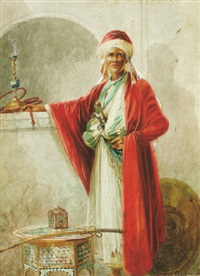 an arab figure standing with a hookah on a ledge and a sword on a table by ciro mazini