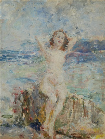 nudo femminile su uno scoglio by luigi mantovani