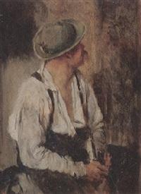 mannsbild mit lederhosen, offenem hemd und trachtenhut by marquard (freiherr) von leoprechting