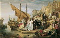 mary queen of scots arriving at leith, 1651 by sir william allan