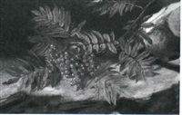 ronnebaergren med baerklase der haenger ind over et     stengaerde by emma auguste loffler