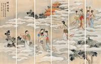 嫦娥谒驾 通景六屏 绢本 (in 6 parts) by guan zhongxian, ling xu, and zhu xi