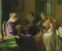 interiör med handarbetande kvinnor by gudbrand mellbye (mollbye)