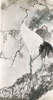 crane on pine by gao jianfu and yang shanshen