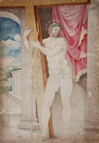 christus das kreuz tragend by giulio clovio