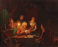 familie im kerzenschein bei der zeitungslektüre by jan david geerling grootveld