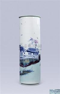 乡村秋意高温青花斗彩瓶 by yu donghua