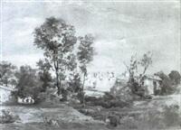 blick auf die ruinen der caracalla thermen in der romischen campagna by august (friedrich a.) reinhardt