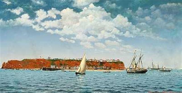hollandsk hjuldamper og skibe ud for helgoland by albert kromann