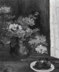 stilleben mit sommerblumen und früchten by maurice serullaz