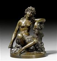 auf löwenfell sitzende bacchantin mit weinkranz, trauben und kelch haltend, den linken arm auf einen baumstrunk gelegt by jean-baptiste pigalle