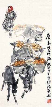 赶集图 donkey by huang zhou