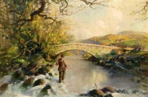 fisherman on the wye river by vernon ward