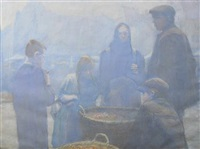 misty market scene by elsie brook snowdon