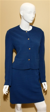 chanel boutique royal blue wool skirt suit