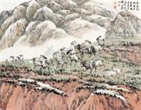 青海湖 (landscape) by ji xuejin