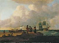 handelsschiffe und kaufleute an der küste by wigerus vitringa