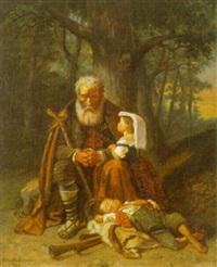 ældre mand og to småborn holder hvil i skoven by antoinette gabrielsson