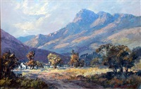 south african landscape with farm buildings by anton benzon