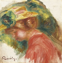 femme en chapeau by pierre-auguste renoir