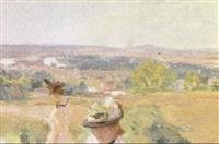 sommerdag i landskab med to unge kvinder der nyder udsigten by charles de meixmoron de dombasle