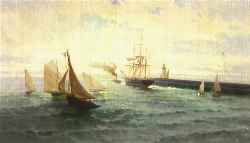 blick von einem hafen auf zahlreiche segelboote und raddampfer by paul angé nocquet