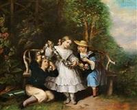 tre børn med en blomsterguirlande by e. leoni