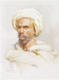 porträt eines orientalen mit weissem turban by tony binder