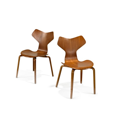 grand prix chairs pair by arne jacobsen
