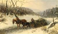 winterlandschaft mit holzschlitten by ludwig benno fay