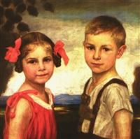 doppelportrait mit geschwisterpaar, meisterlich charakterisiert vor landschaftshintergrund by hermann dörmann