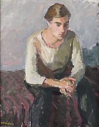 sittande man by alf lindberg
