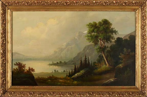 view of a lakeside path with mountains in the distance by john william casilear