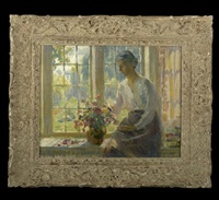 woman seated by a window arranging flowers by howard logan hildebrandt