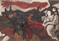 toros ante un paisaje by francesc artigau