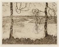 ohne titel (moorlandschaft mit zwei birken) by walter ophey