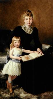 mor og datter. en lille pige får læst op af -den store bastian- by theodor dengler