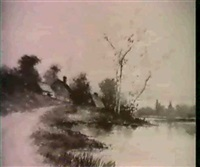 depicting a landscape, river, and farm scene by j. f. jackson
