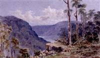 blick von bewachsenem felsvorsprung ins bergige land by edward william andrews